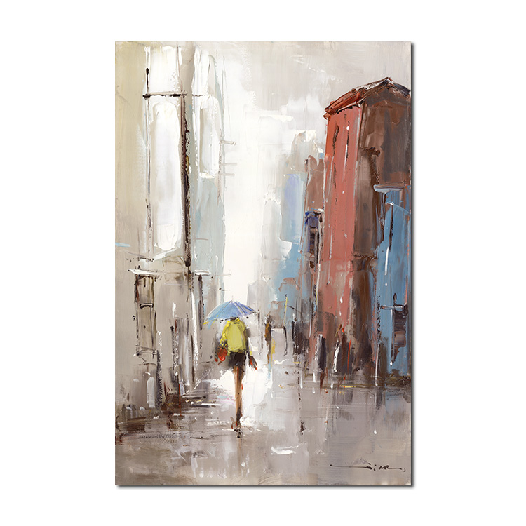 Crowd in the rain street Alley manual painting without frame paintings art on canvas modern oil abstract painting