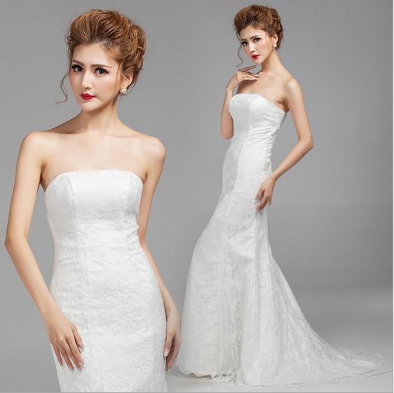 New arrived collect waist fishtail package hip trailing bridal gown wedding dress