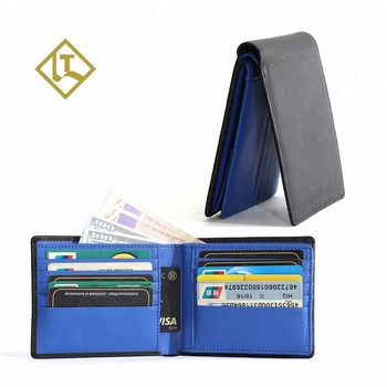 Online factory wholesale custom best cheap price fashion minimalist genuine leather credit card wallet rfid leather wallet men