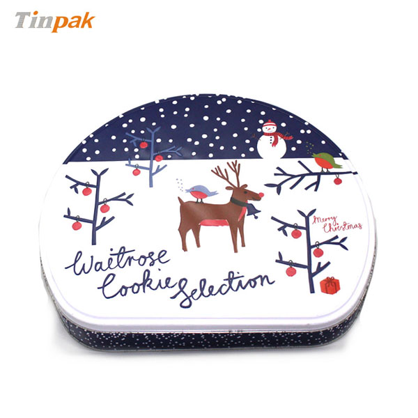 Christmas Decorative D Shaped Metal Tin Box for Sale