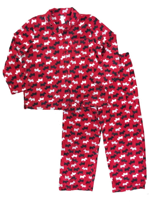 5edaab779e Get Quotations · Womens Polka Dot Scottish Terrier Pajamas Red White    Black Puppy Dog Sleep Set