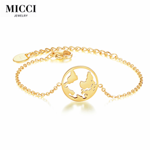 2018 MICCI Custom logo stainless steel gold hand chain wrist bracelets for women fashion gold jewelry