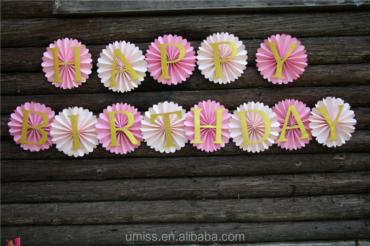 UMISS Happy Birthday Party Background, Pink Tissue Paper Fans, Gold Glitter Letters Banner