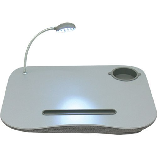 Multi-Purpose Lap Desk Equipped With Built-in Foam Cushion, Pen Holder, Cup Holder, and Adjustable LED Lamp
