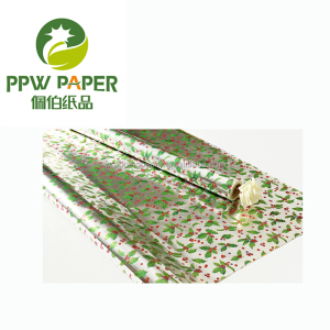 PPW Gift Paper Wrapping Paper Leaf Flower Style ,Sliver Metallic Printing Wholesale Wrapping Paper