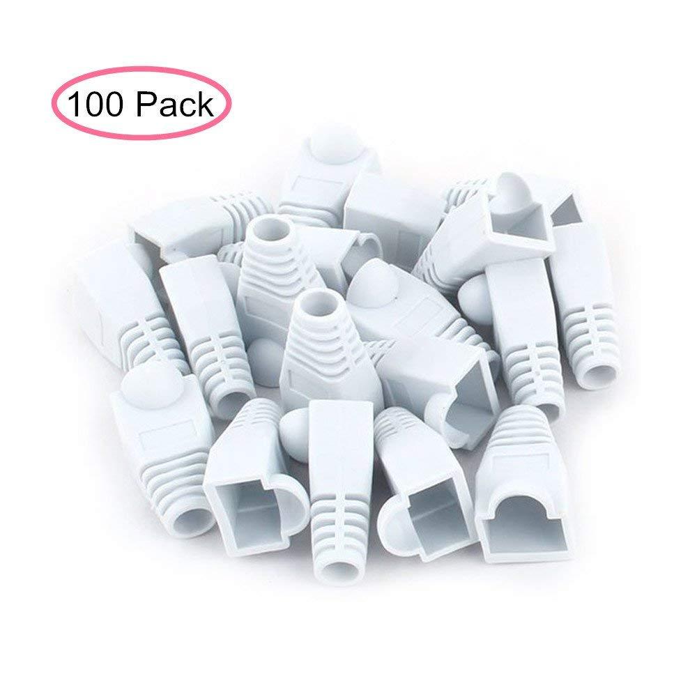 AISIBO White Color RJ45 Plug Connector Network Jumper Cable, Soft Plastic Ethernet RJ45 Connector CAT5 CAT5E CAT6 8P8C Cap Connector Boots Plug Cover Strain Relief Boots (100 Pack) (white)