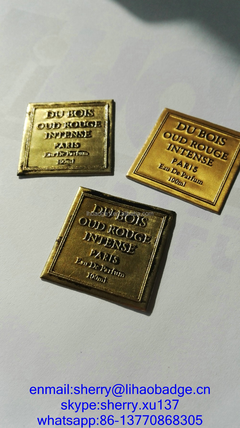 Silver Metal Perfume Sticker Etching Custom Metal Label