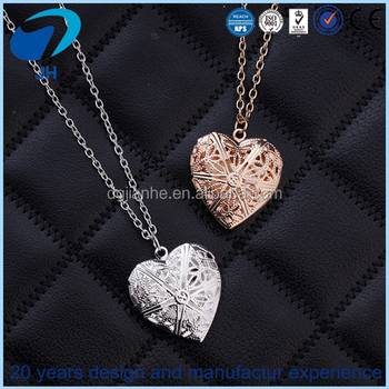 Wholesale Hollowed Out Heart Shaped Couple Gold Necklace Heart