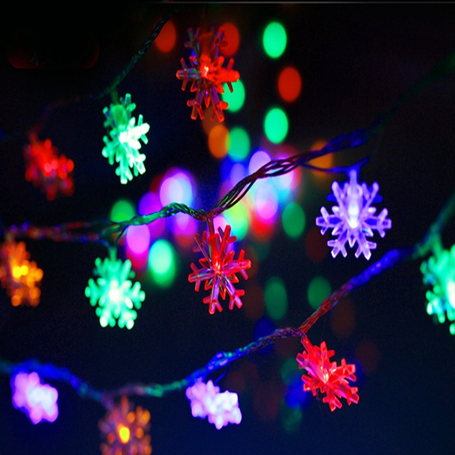 get quotations snowflake string lights ewlan 33 ft 100 leds waterproof plug in power fairy string
