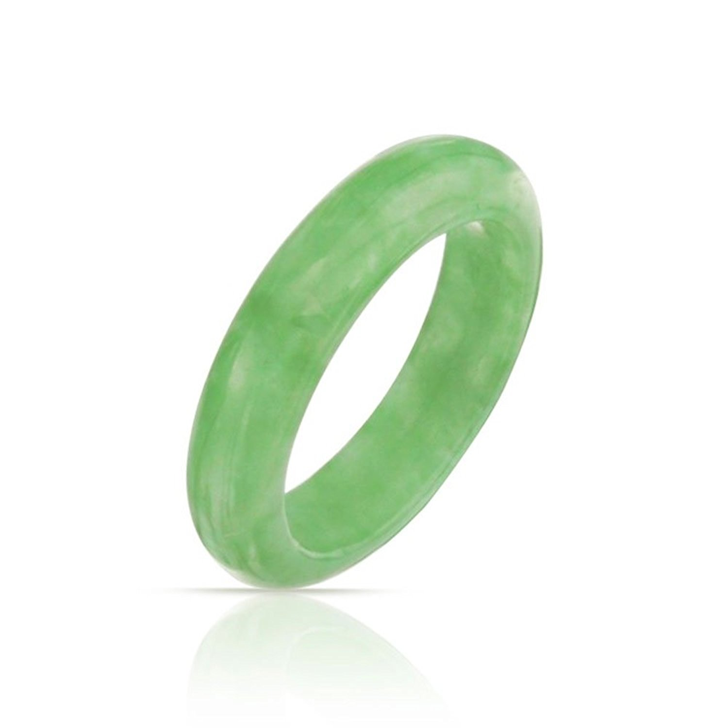 Bling Jewelry Dyed Green Jade Band Modern Ring