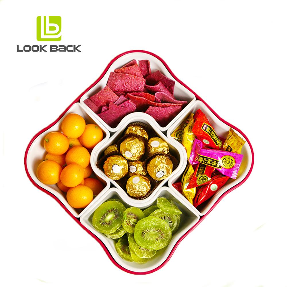Thuis Decor Plastic Voedsel Container Snack Fruit Lade Met 5 Vakken