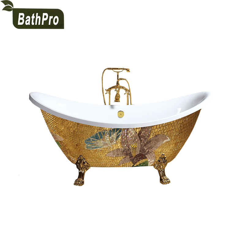 Freestanding Install Classical Style Acrylic Material Soaking Bathtub with Four Legs