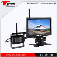 2.4Ghz wireless rear view camera system with 7inch LCD screen, waterproof, night vision camera DC12-24V
