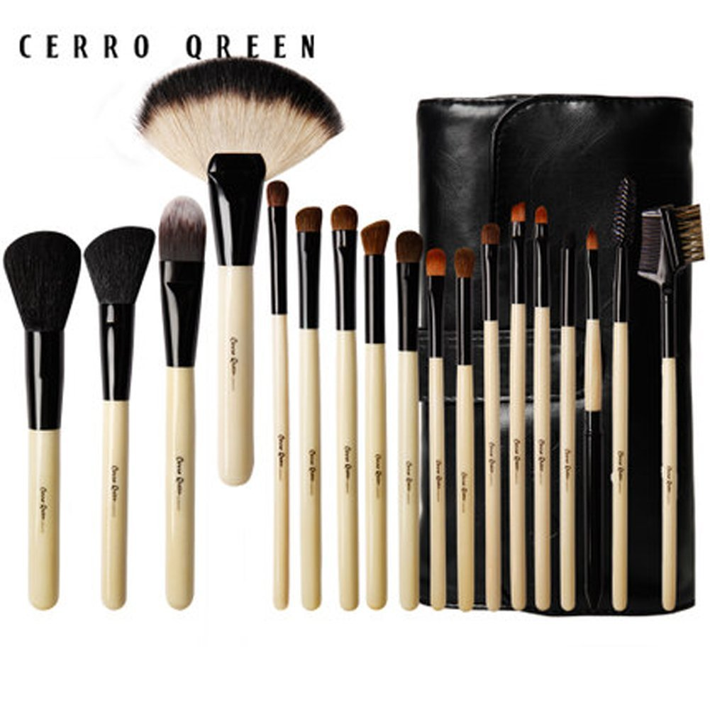 CERROQREEN 18 pcs Makeup Brushes Cosmetic Brush Set with goat hair pony hair leather traverl pouch bag case (Wooden)