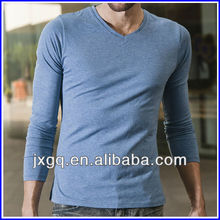 100 cotton fashion slim fit plain design blank men's skin tight long sleeve t-shirt