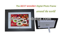 2012 Hot sale 8 inch Wooden Digital Photo Frames,super slim ,high-Brightness screen,Movie/Music, calender and alarm,cheap price!