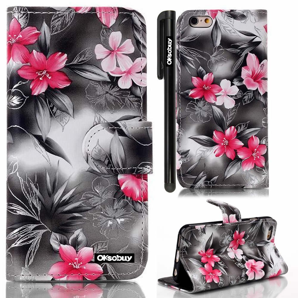 OkSoBuy® Apple iPhone 6 Case (4.7 Inch) Case Hawaiian flowers textures PU Leather Wallet Magnet Bracket Combo Case with Credit Card Holder Slots For Apple iPhone6 Stylus (Black Hawaiian flowers)