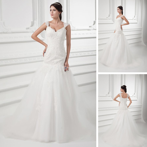 Drop Sleeve Wedding Gowns With: Cap Sleeves Tulle Applique & Beading Shoulder Straps Floor