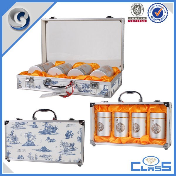 Customed acrylic handle high quality aluminum box storage case tea gift case