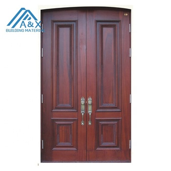 High quality European Style solid wood double entrance doors