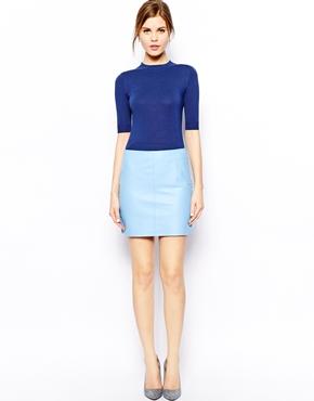 Blue Leather Mini Skirt   Jill Dress