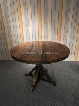 Italian Vintage Design Delicate Solid Wood Round Hotel Restaurant Dining Table Large Tables Rustic