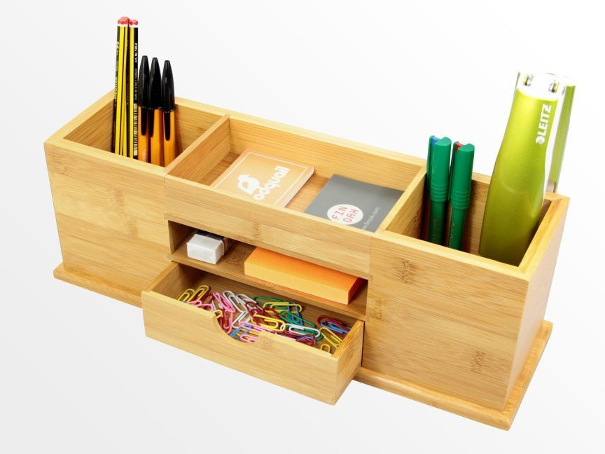 Desk Stationery Organiser Pen Pencil Holder Bamboo Desktop Organiser Wholesale Buy Desk