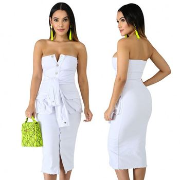 A92004 Casual White Strapless Sleeveless Denim Midi Dress For Woman