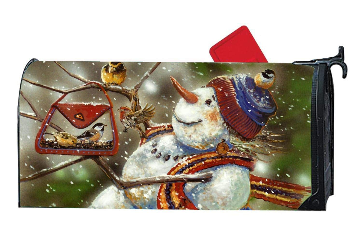 """YongSD Magnetic Mailbox Cover Standard 6.5""""x 19""""- Spring Winter Birds Themed, Decorative Vinyl Mailbox Wrap for Standard Size, Multicolor - Christmas Snowman Goldfinch Chickadee"""