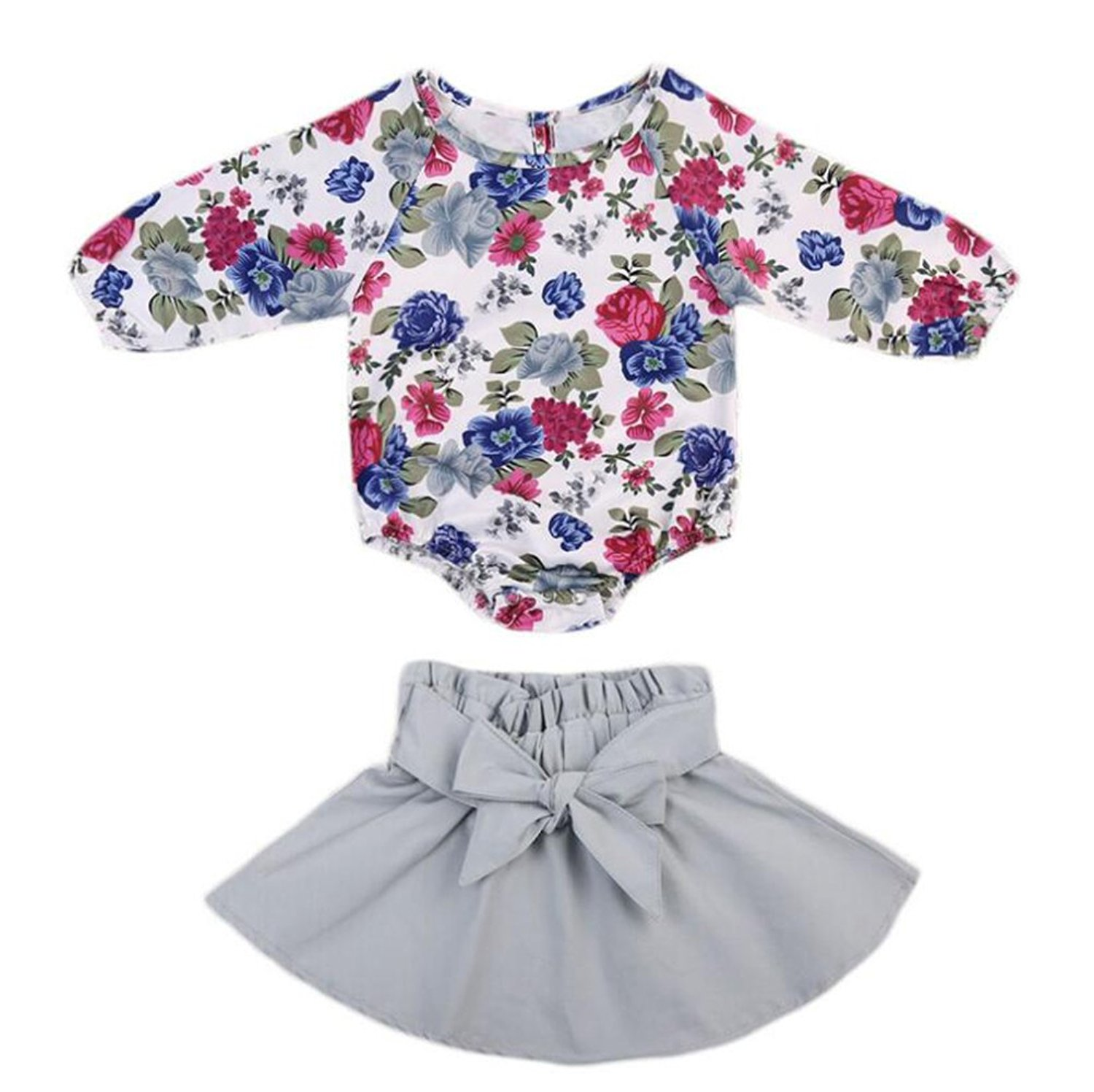 f9a338366 Get Quotations · UNIQUEONE Little Girls Long Sleeve Floral Print Romper Top  Bowknot Skirt Sets Outfit