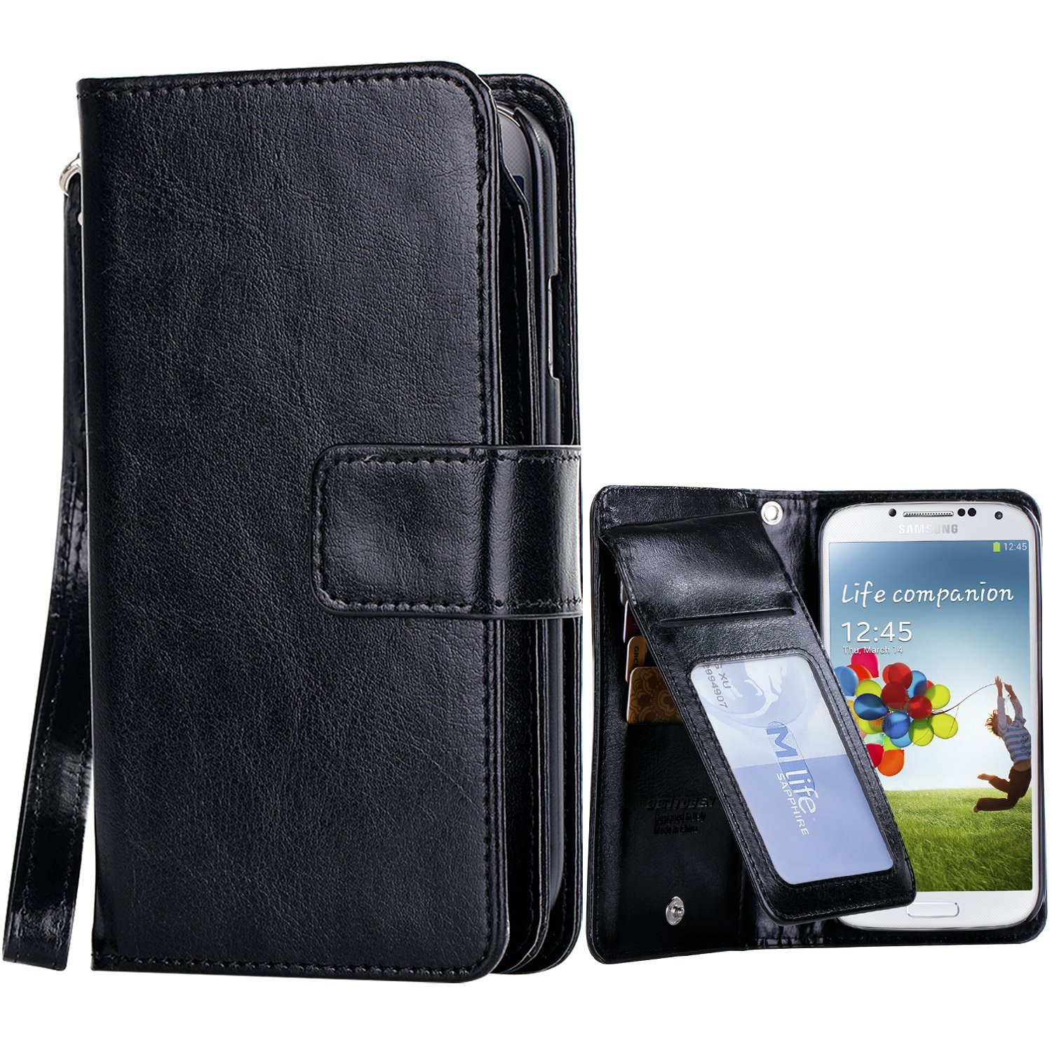 Galaxy S4 Case, Samsung S4 Wallet Case, BENTOBEN Faux Leather Magnetic Flip Wallet Press Button Case Cover with Card Holder Cash Pouch Wrist Strap for Samsung Galaxy S4/I545Z/S975/L720Z/M919Z, Black