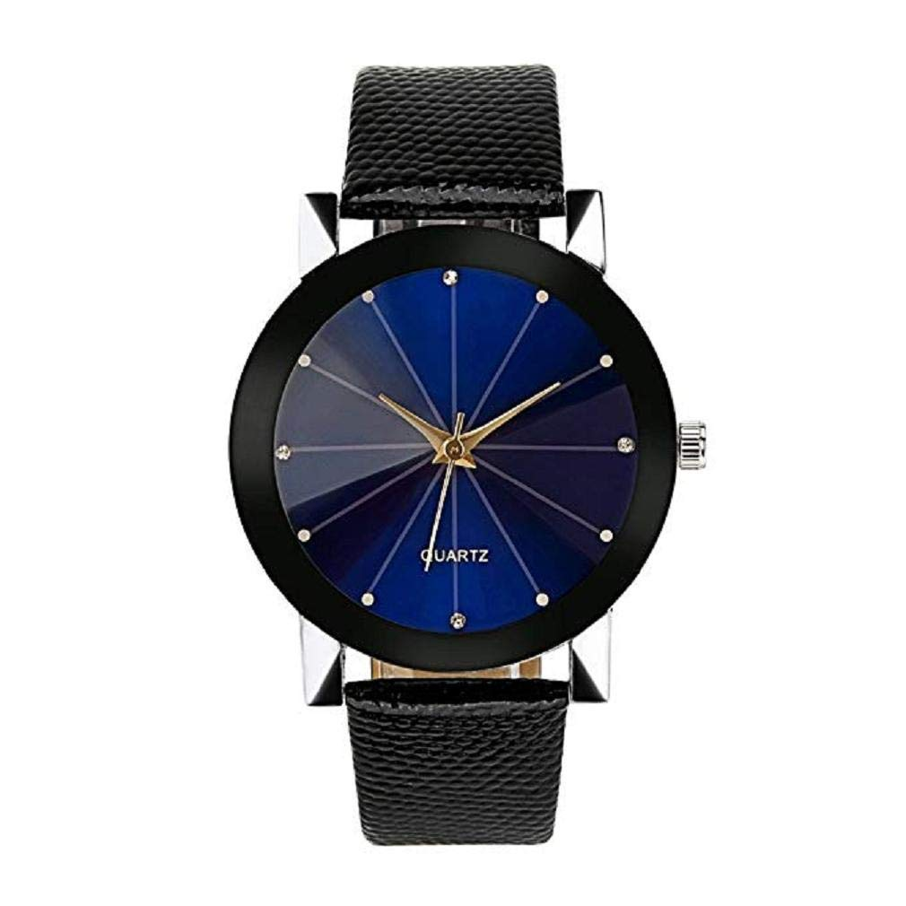 Womens Watches, Windoson Women's Ladies Teen Girls Fashion Dress Wrist Quartz Watch with Black/Blue FaceDial Leather Band Casual Simple Analog Quartz Watches Classic Wristwatch Clearance (B)