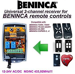 2-Channel BENINCA T2WV, T4WV, TO.GO 2(4)WV, IO.2WV, CUPIDO-2, -4 receiver, 12-24V AC/DC, NO/NC 433.92Mhz rolling code