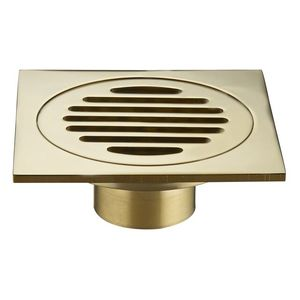 Brass Chrome Plates Golden Color Floor Drain Bathroom