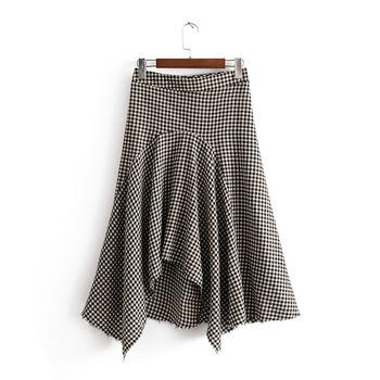 32bcb8c26 Más Nuevo Algodón Comprobado Patrón Mujeres Faldas Asimétricas De Guangzhou  Proveedor De Ropa - Buy Faldas De Mujer De Algodón De Moda,Faldas De ...