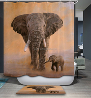 Custom Printing Polyester Shower Curtain with design of mother and baby elephant