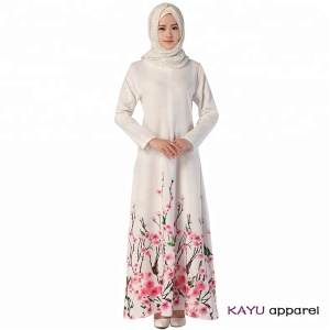 Islamic clothing flower printed abaya muslim kaftan dress