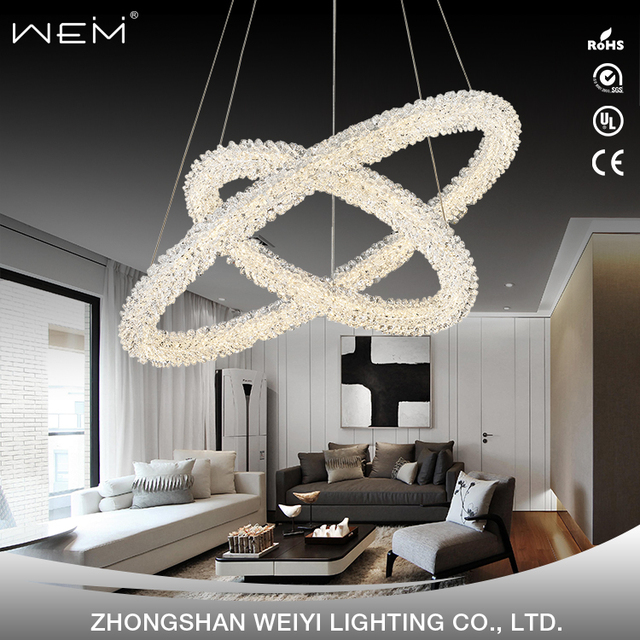 China chandeliers crystal hanging lamp wholesale alibaba new design double round rings 60w nature white 4000k hanging lamp modern crystal chandelier decorative aloadofball Images