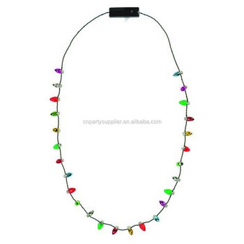 christmas party flashing light bulbs necklace
