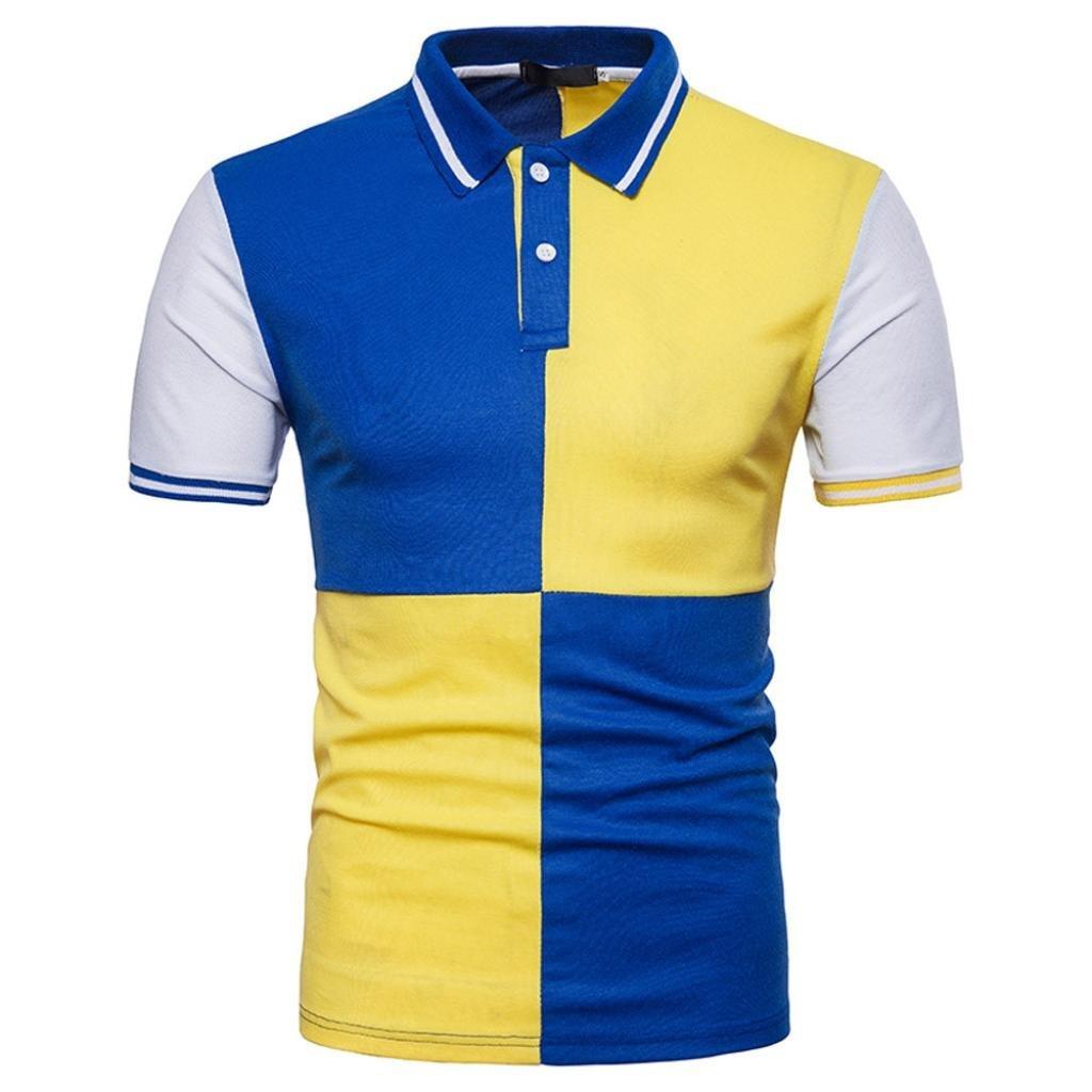 Coper Polo Shirt,Men's Slim Patchwork Polo T-Shirt Top Personality Blouse