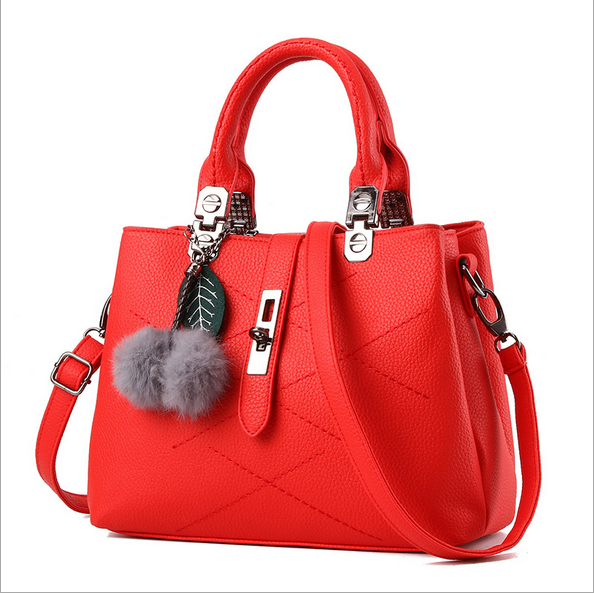 FY 2017 Ladies Bags Handbag Leisure PU leather lady fashion handbag with  fluffy balls Fashion Women shoulder bag Non-leather bag a6f351b968d19
