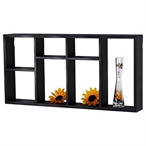Adeco [WS0082] Black Wooden Wall Shelf 7 Openings Decorative Collage Display Platform Organizers Home Decor
