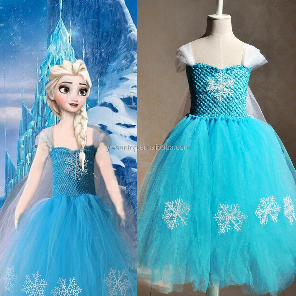2016 Frozen Tutu Wedding Dress Childrens Fancy Flower Girl Dress ...