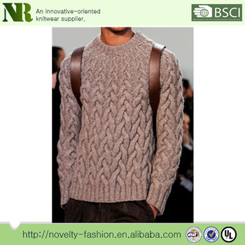 Men's Chunky Cable Knit Pullover Sweater - Buy Mens Cable Knit ...