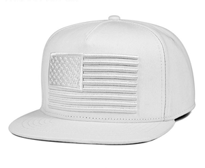 China suppliers custom 3d embroidered american flag flat bill all white snapback caps