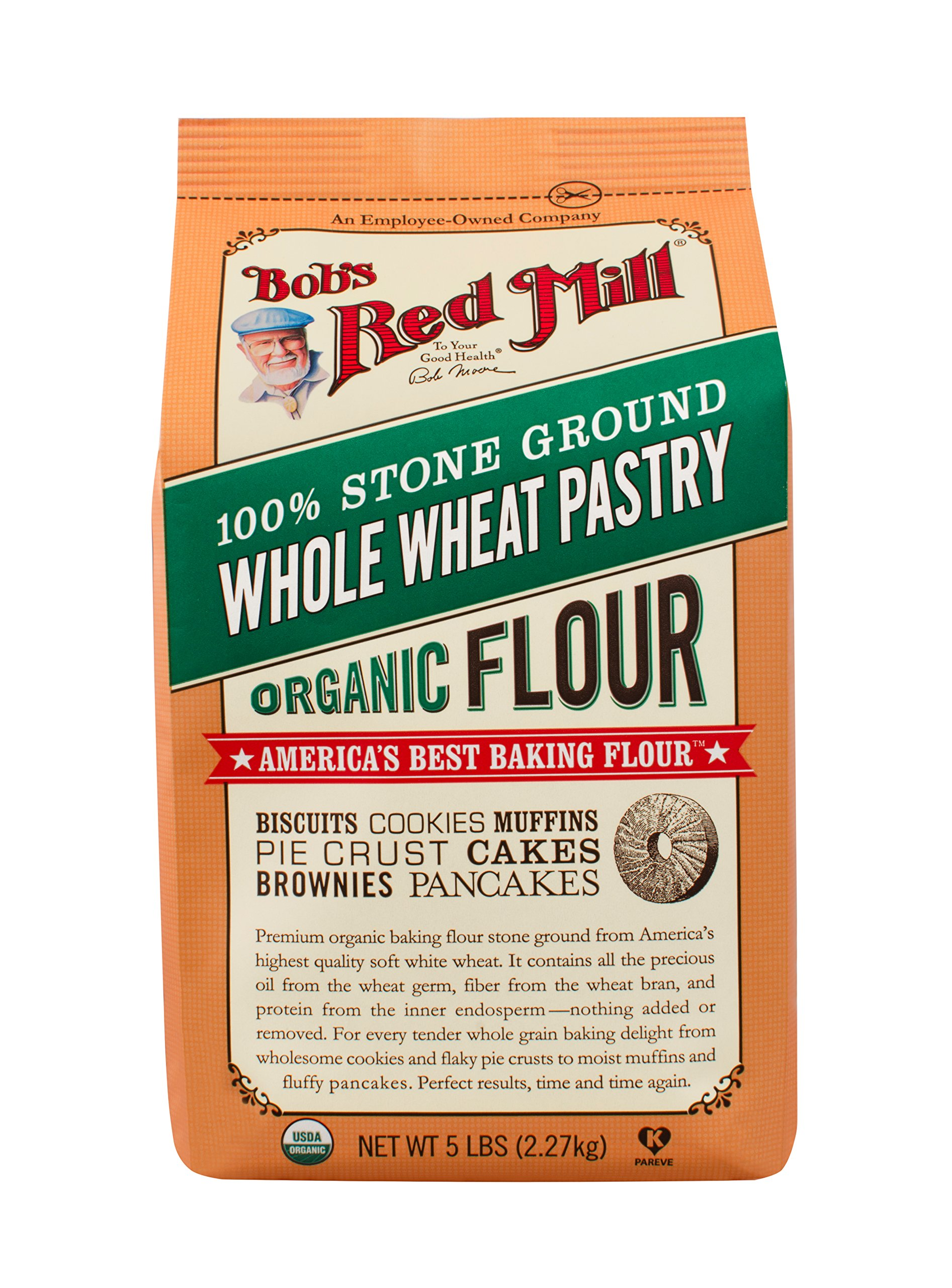 Bob's Red Mill, Organic Pastry Flour, Whole Wheat, 5 lb