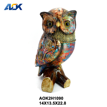 Factory Supply Animal Figurine Resin Bird And Owl Crafts