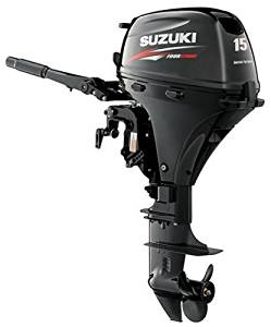 "Suzuki 15 HP 4-Stroke EFI Outboard Motor Tiller 15"" Shaft Electric Start"