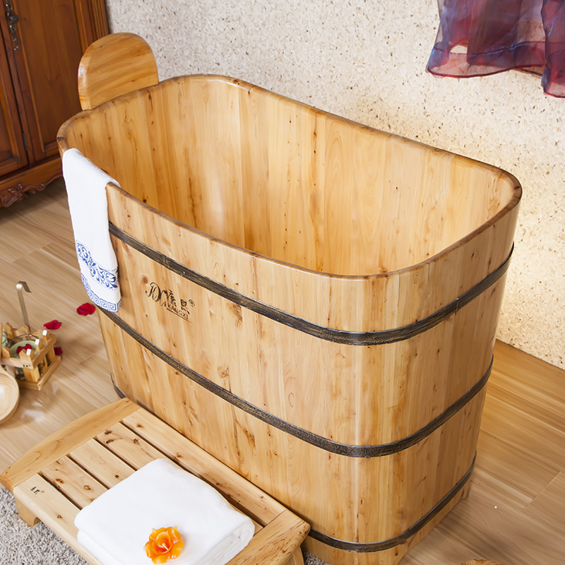 Wooden Barrel Portable Bathtub With Seat Japanese Bathtub