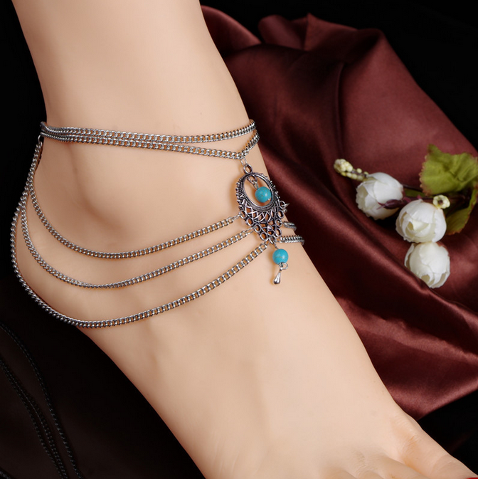 New Arrival Hot Fashion Bohemia Silver Chain Turquoise Beads Charm Anklets 1Pcs